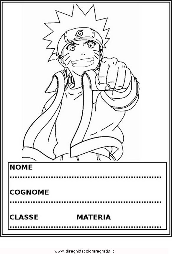 Disegno copertina quaderno naruto personaggio cartone