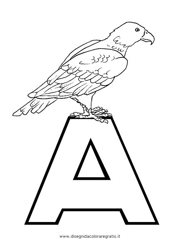 Disegno alfabeto aquila categoria alfabeto da colorare - Lettere animali da stampare ...
