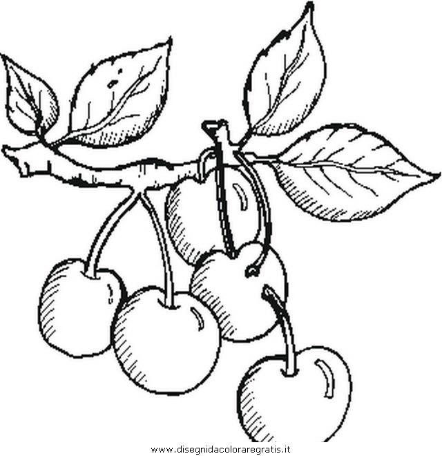 Disegno cherries ciliege alimenti da colorare for Disegni da colorare ciliegie