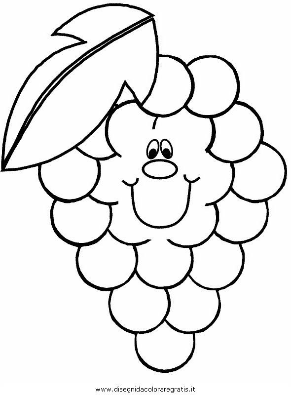 Disegno Uvagrappolograppoli2 Alimenti Da Colorare