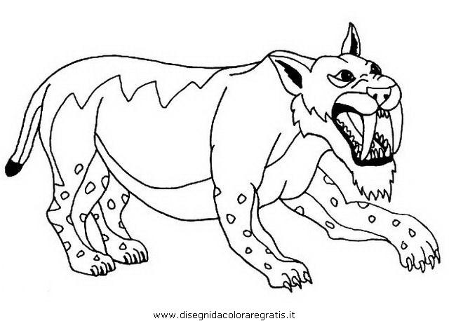 Disegno smilodonte 1 animali da colorare for Disegni da colorare dinosauri
