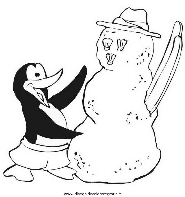 Disegno pinguino personaggio cartone animato da colorare