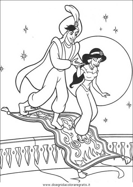Disegno aladdin personaggio cartone animato da colorare