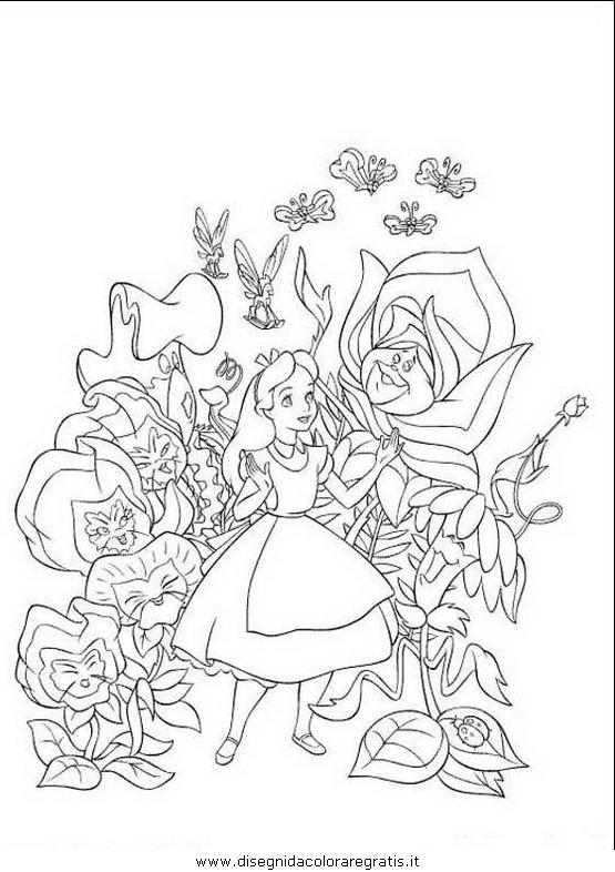 Disegno alice personaggio cartone animato da colorare