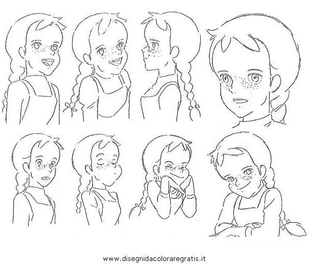 Disegno anna capelli rossi akage no anne personaggio
