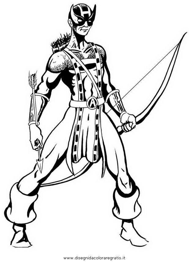 Disegno hawkeye personaggio cartone animato da colorare