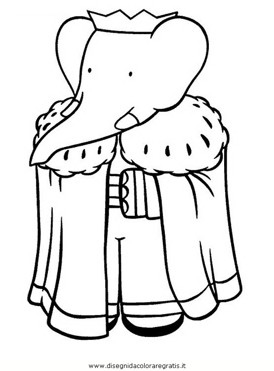 Disegno babar personaggio cartone animato da colorare