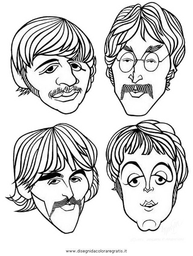 Disegno beatles personaggio cartone animato da colorare
