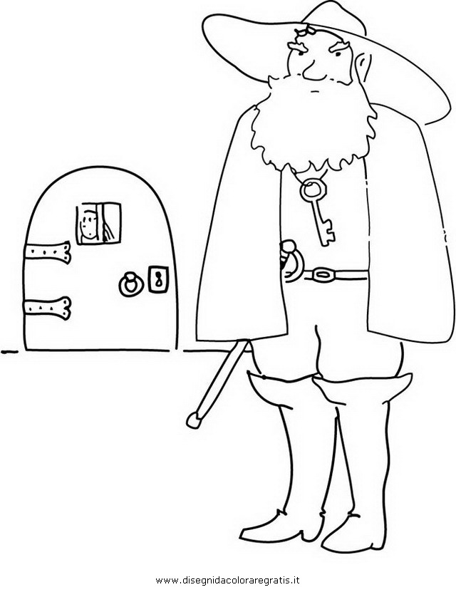 Disegno barbablu personaggio cartone animato da colorare