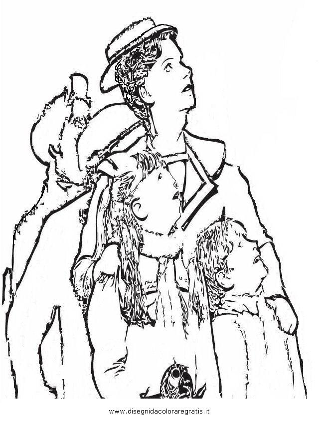 Disegno mary poppins personaggio cartone animato da