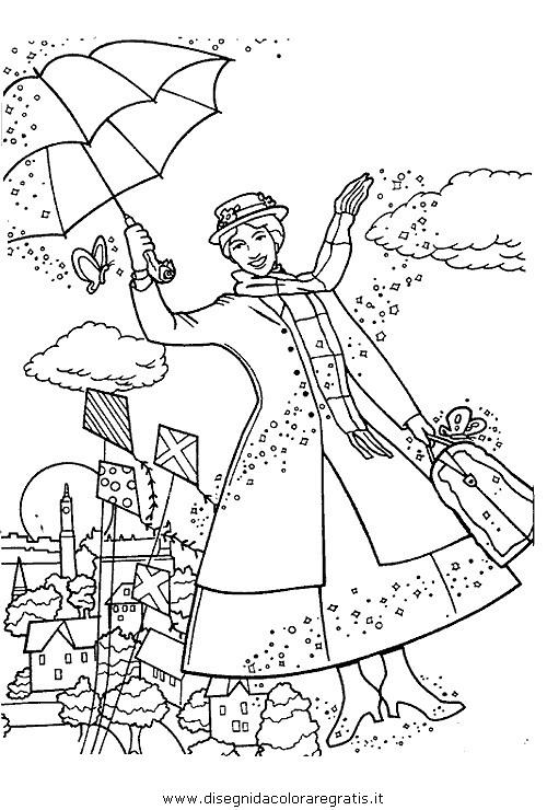 Disegno mary poppins personaggio cartone animato da colorare