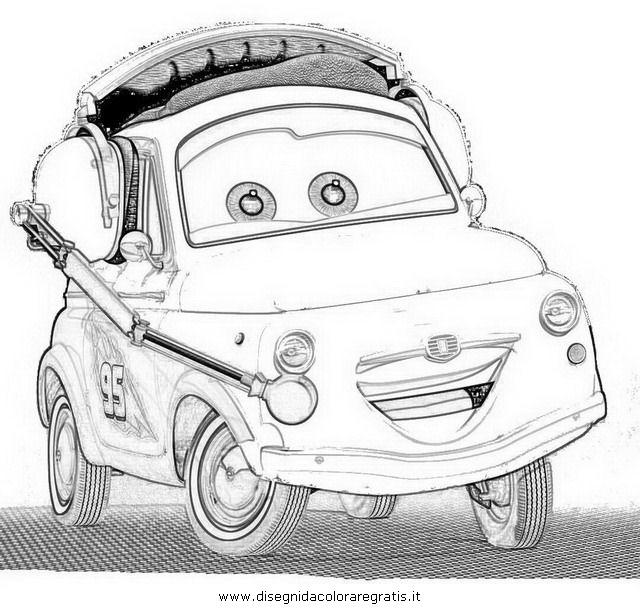 Disegno cars2 luigi personaggio cartone animato da colorare for Cars 2 da stampare