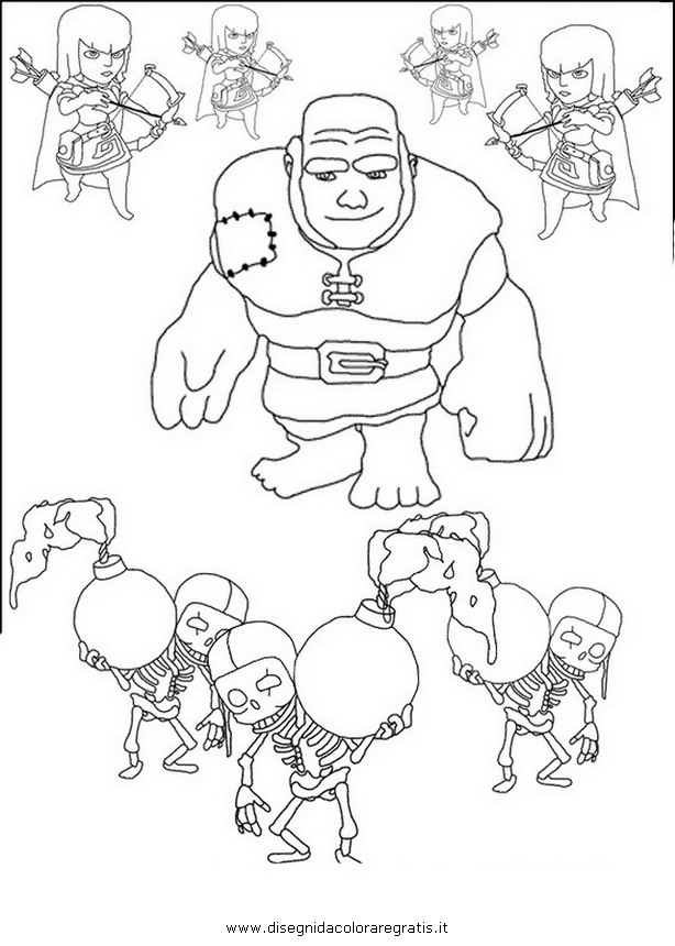 Free coloring pages of dibujos de clash of clans