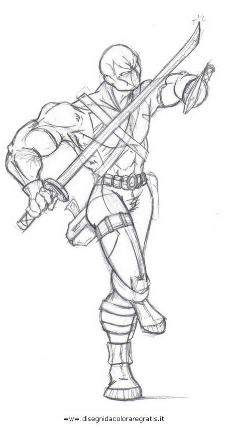 disegno deadpool 4 personaggio cartone animato da colorare