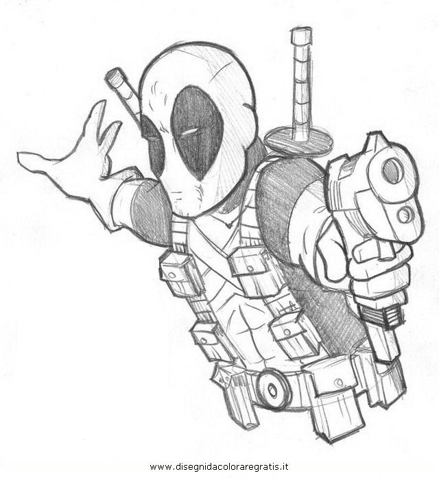 Disegno deadpool personaggio cartone animato da colorare