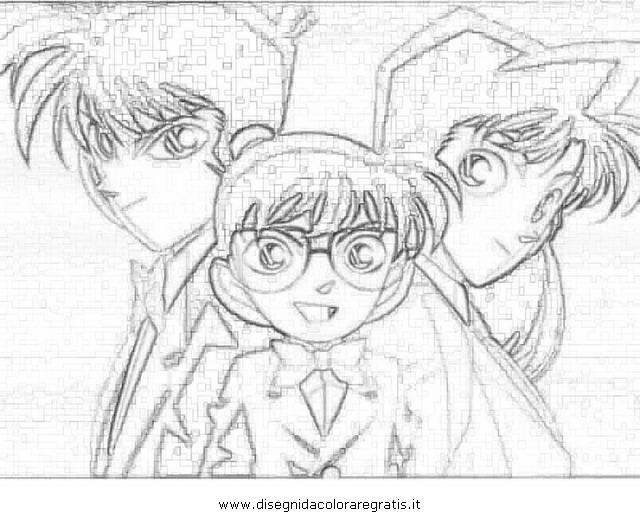 Disegno detective conan personaggio cartone animato da