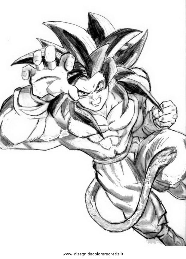 Disegno Dragonball Goku Ssj4 Super Sajan 6 Personaggio Cartone Animato Da Colorare