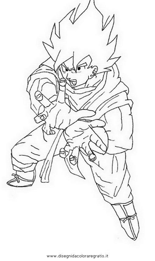 Disegno Goku Kamehameha Personaggio Cartone Animato Da Colorare