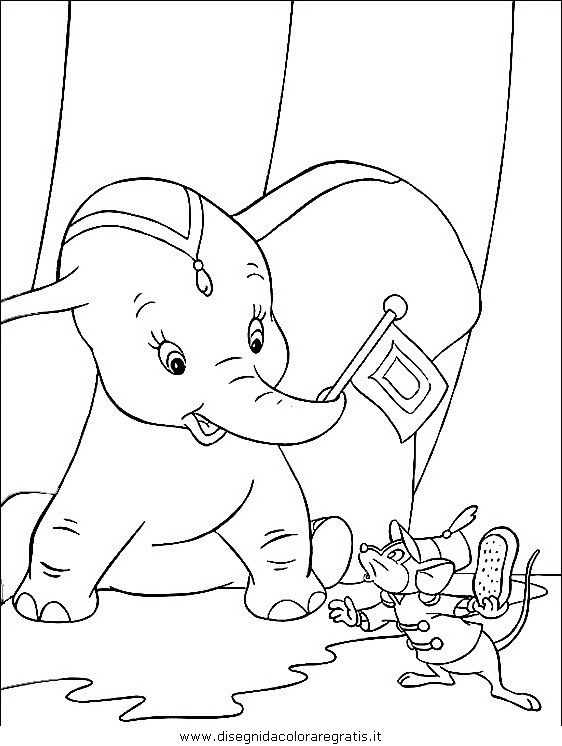 Disegno dumbo personaggio cartone animato da colorare