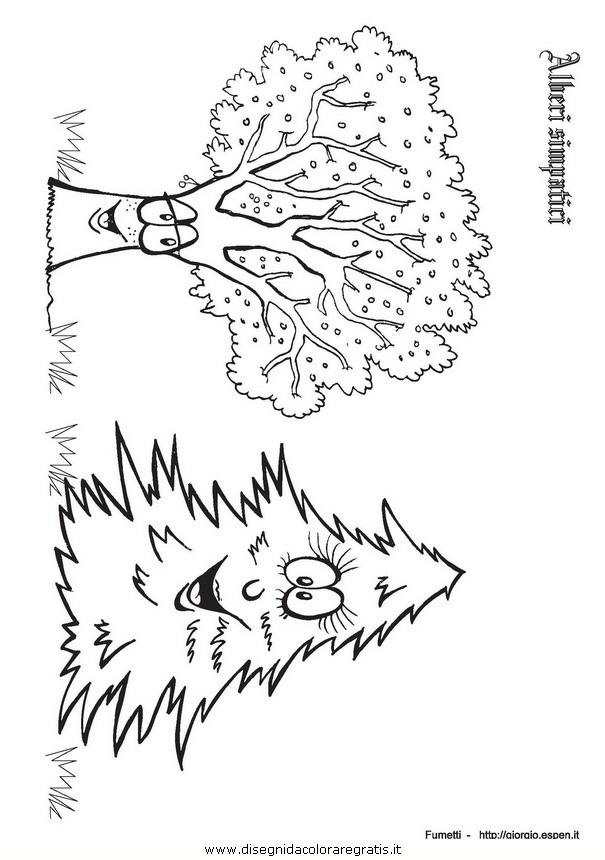 Disegno alberi espen personaggio cartone animato da