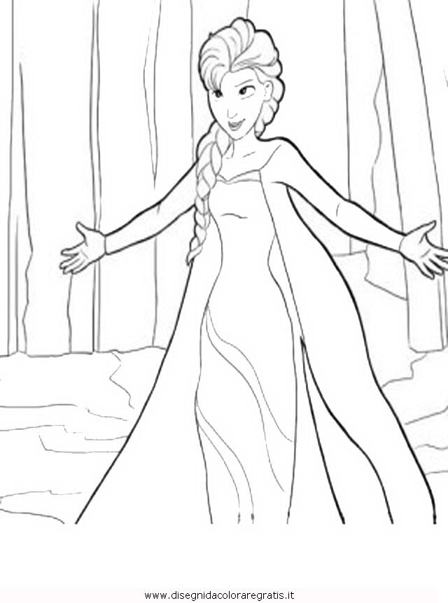 Disegno frozen elsa personaggio cartone animato da colorare