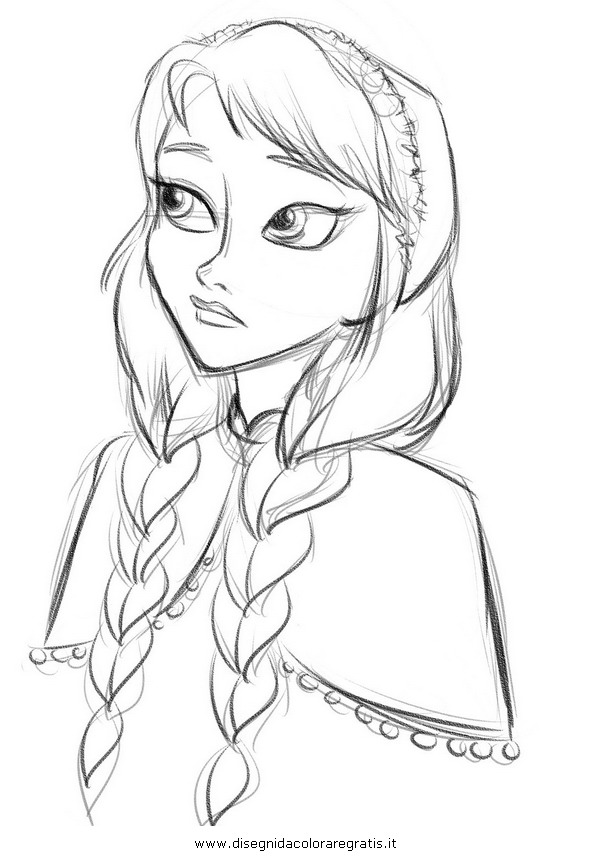 Disegno frozen anna personaggio cartone animato da colorare