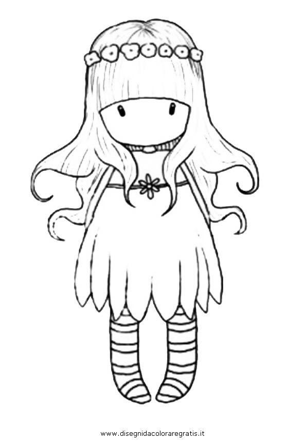 Disegno gorjuss personaggio cartone animato da colorare