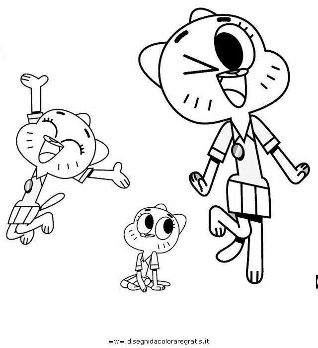 Disegno gumball personaggio cartone animato da colorare