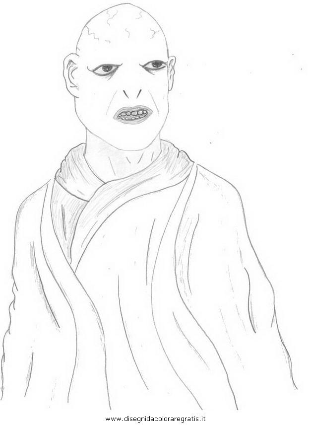 Disegno voldemort personaggio cartone animato da colorare