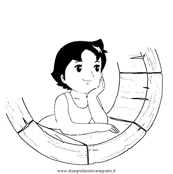 Disegno heidi personaggio cartone animato da colorare