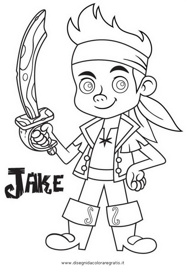 Disegno jake pirati personaggio cartone animato da colorare