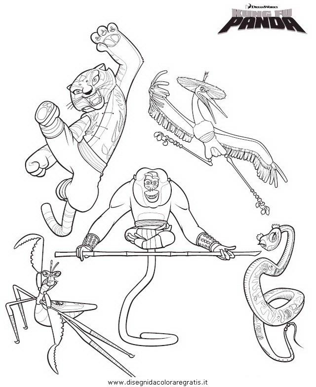Disegno a kung fu panda personaggio cartone animato da