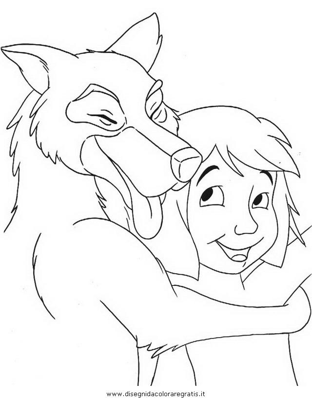 Disegno akela libro giungla personaggio cartone animato