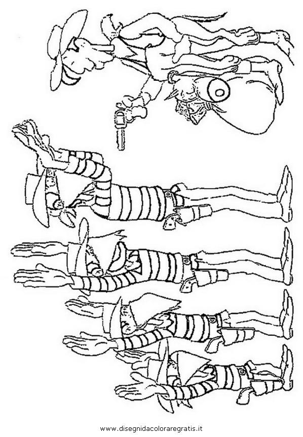 Disegno lucky luke dalton personaggio cartone animato da