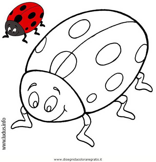 Disegno coccinella personaggio cartone animato da colorare