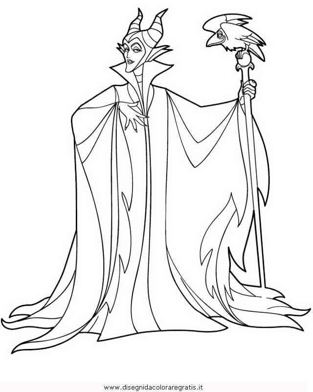 Disegno maleficent personaggio cartone animato da colorare