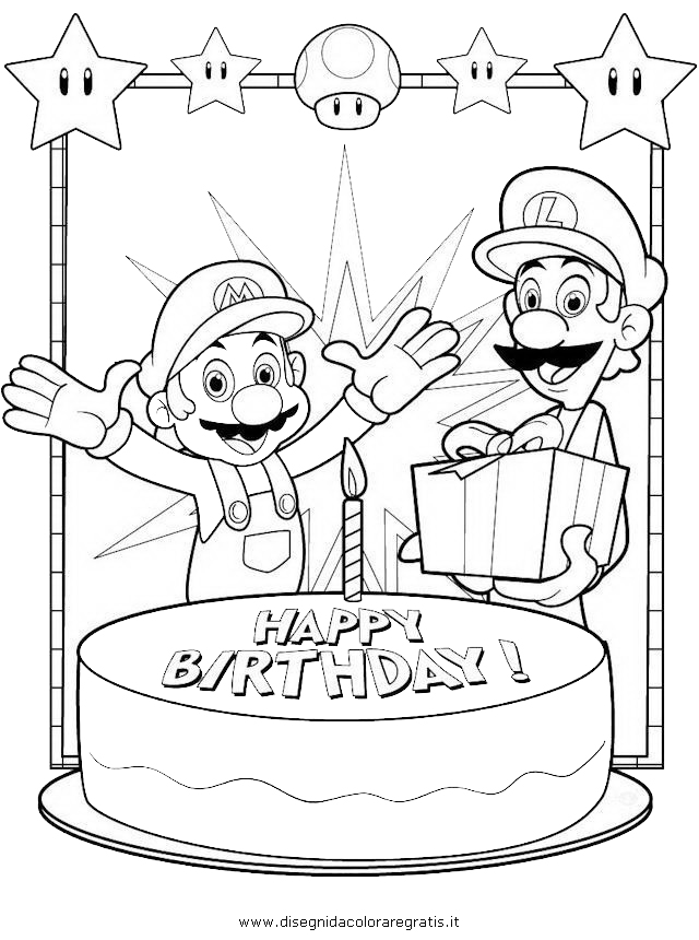Disegno Mario Luigi Compleanno Personaggio Cartone Animato Da Colorare