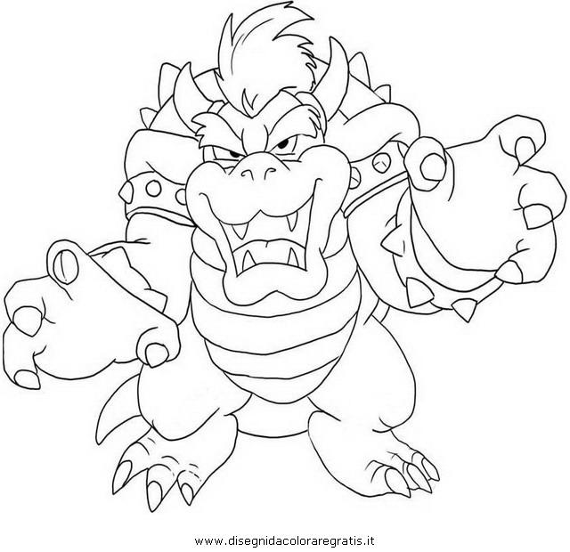 Disegno bowser 5 personaggio cartone animato da colorare for Immagini mario bros da colorare