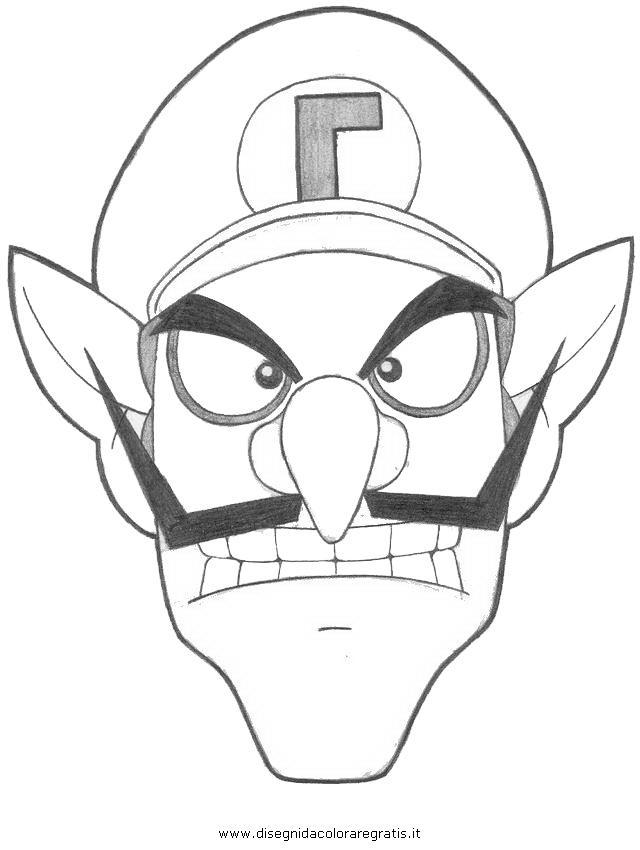 Disegno waluigi personaggio cartone animato da colorare