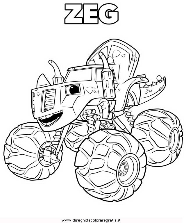 Disegno megamacchine zeg personaggio cartone animato da for Blaze e le mega macchine da colorare