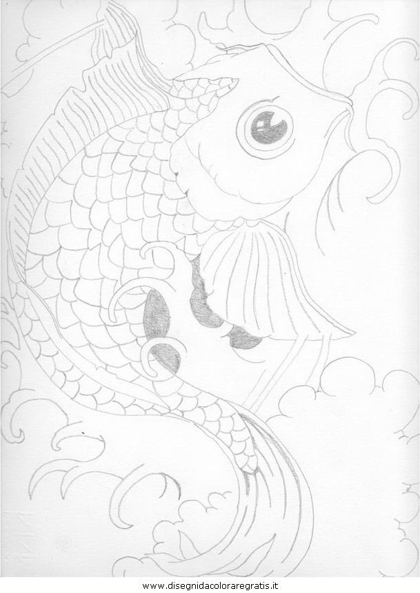Disegno carpa personaggio cartone animato da colorare