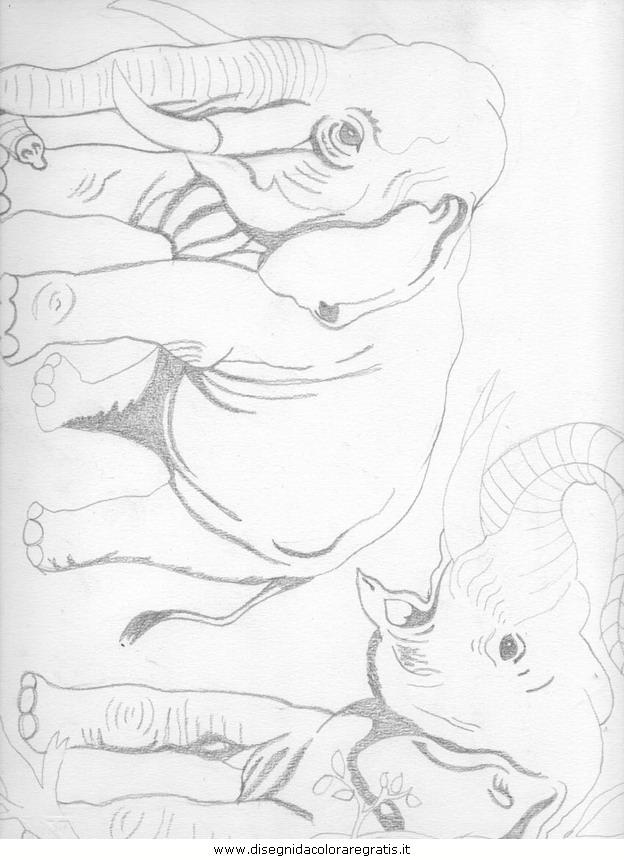 Disegno elefanti personaggio cartone animato da colorare