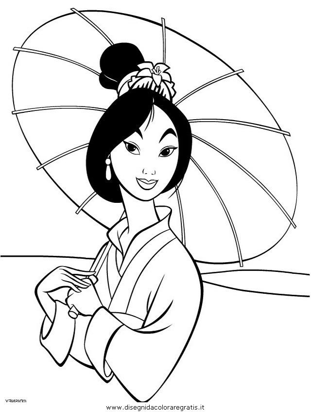 Disegno mulan personaggio cartone animato da colorare