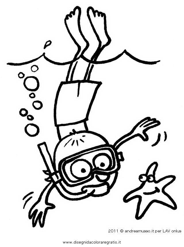 Disegno musso bambino sub personaggio cartone animato da