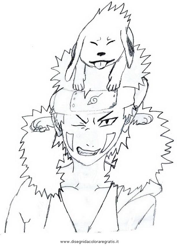 Disegno naruto kiba akamaru personaggio cartone animato