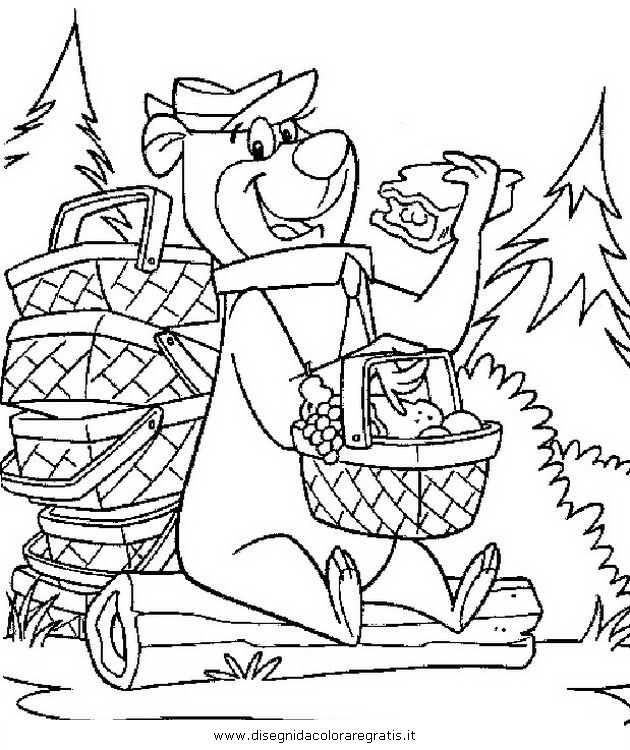 Disegno orso yoghi bubu personaggio cartone animato da