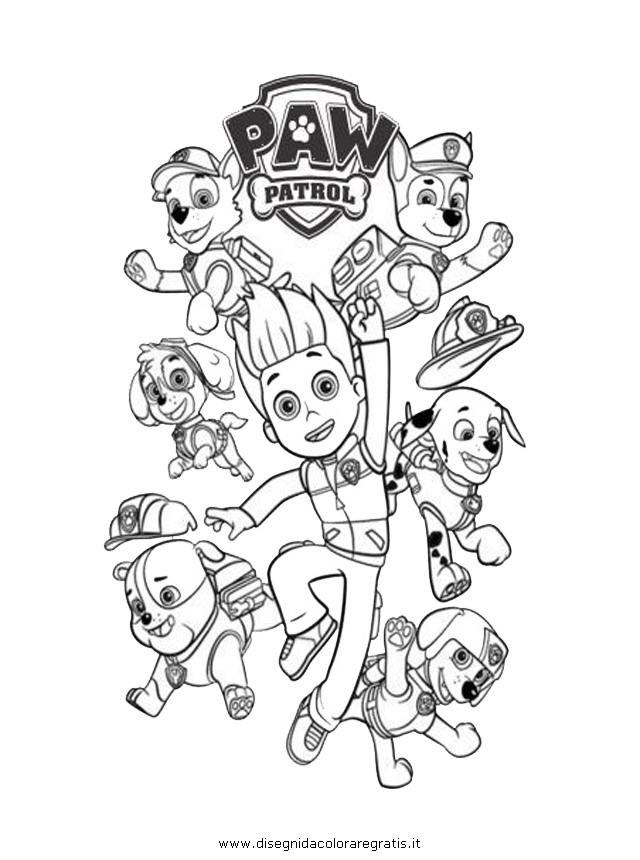 Disegno paw patrol personaggio cartone animato da colorare