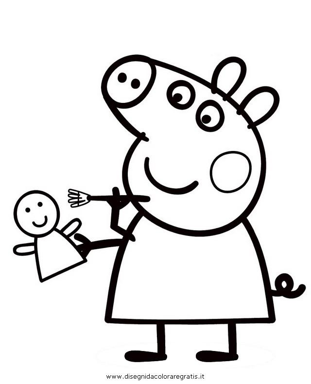 Disegno peppa pig personaggio cartone animato da colorare