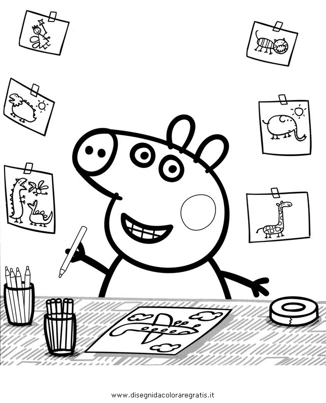 Free coloring pages of peppa pig picnic for Immagini peppa pig da colorare