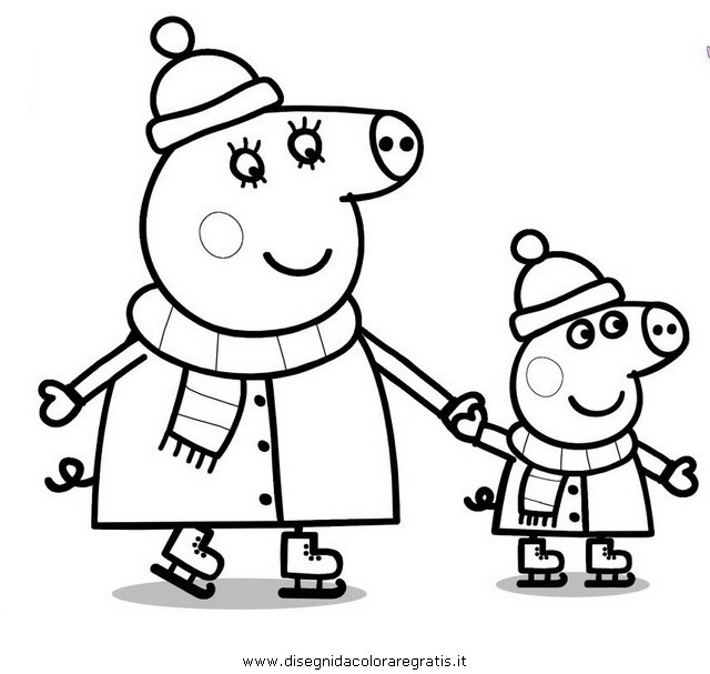 Free coloring pages of chloe pig for Immagini peppa pig da colorare